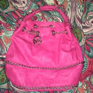 Pink purse with chains